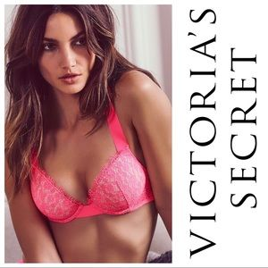 VS Very Sexy 32B Push Up Lace Bra Neon Pink